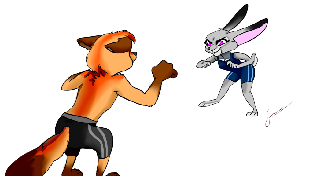 Wrestlers clipart drawing. Zootopia request by darya