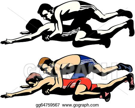 Wrestlers clipart freestyle wrestling. Vector fighting illustration