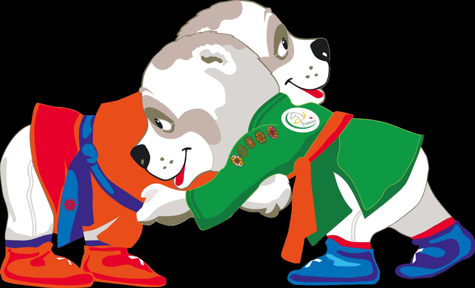 Wrestlers clipart mascot. The games ashgabat belt