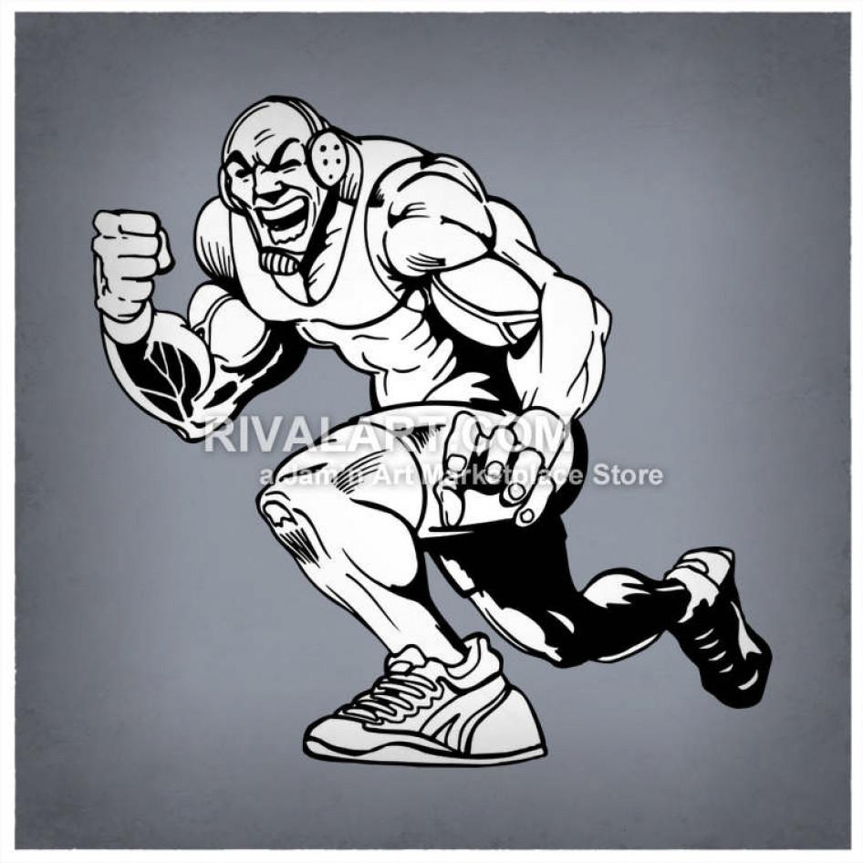Wrestling man mens flexing. Wrestlers clipart muscular