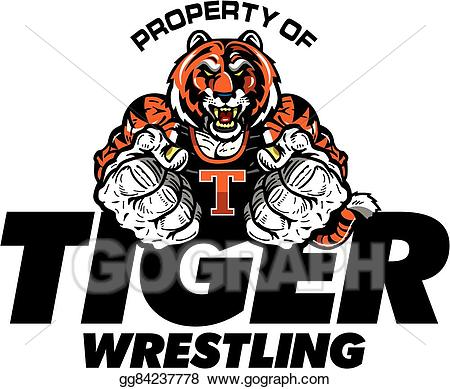 Wrestlers clipart muscular. Vector stock tiger wrestling