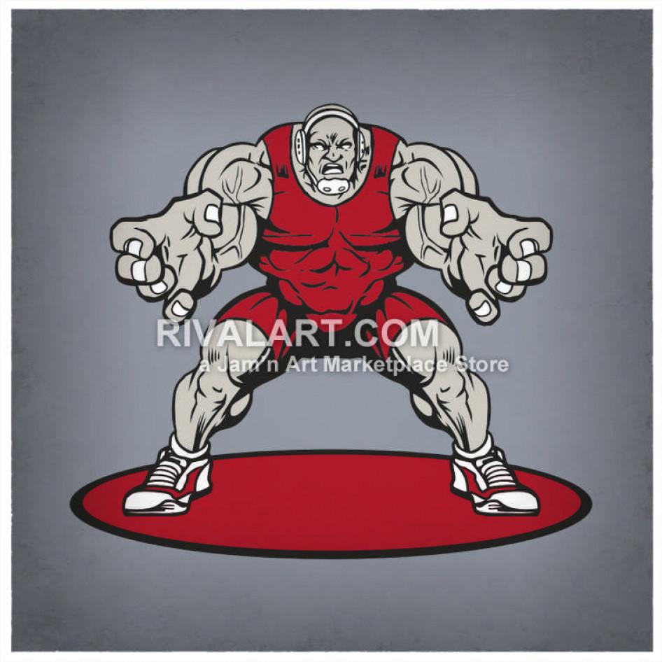 Wrestlers clipart muscular. Huge wrestler wrestling standing