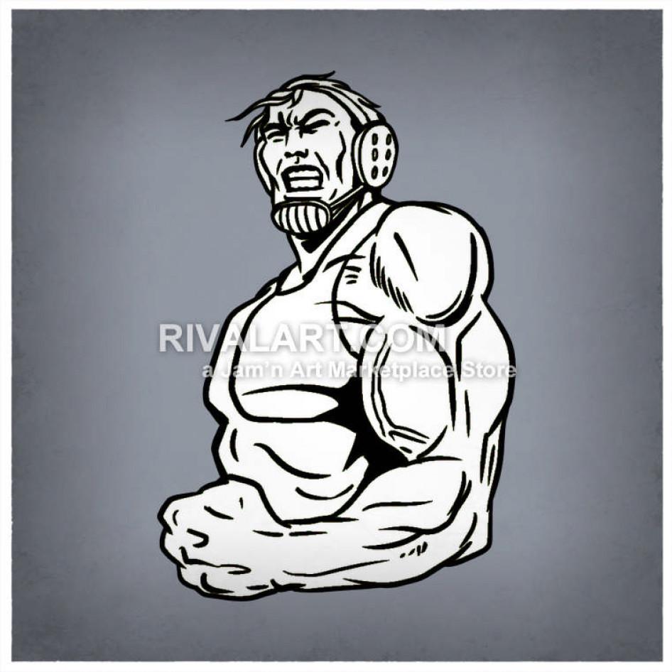 Wrestlers clipart muscular. Black white mens man