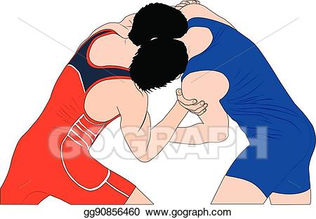 Wrestlers clipart two. Vector illustration men in