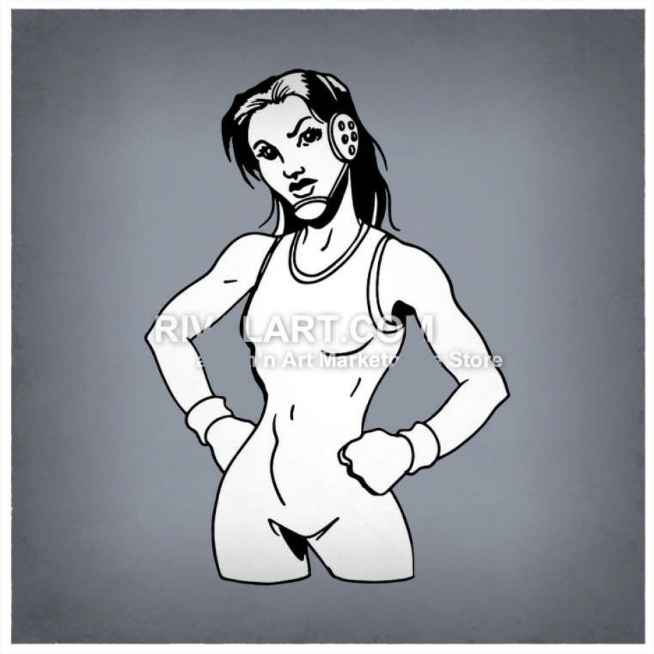 Wrestlers clipart woman wrestler. Female with hands on