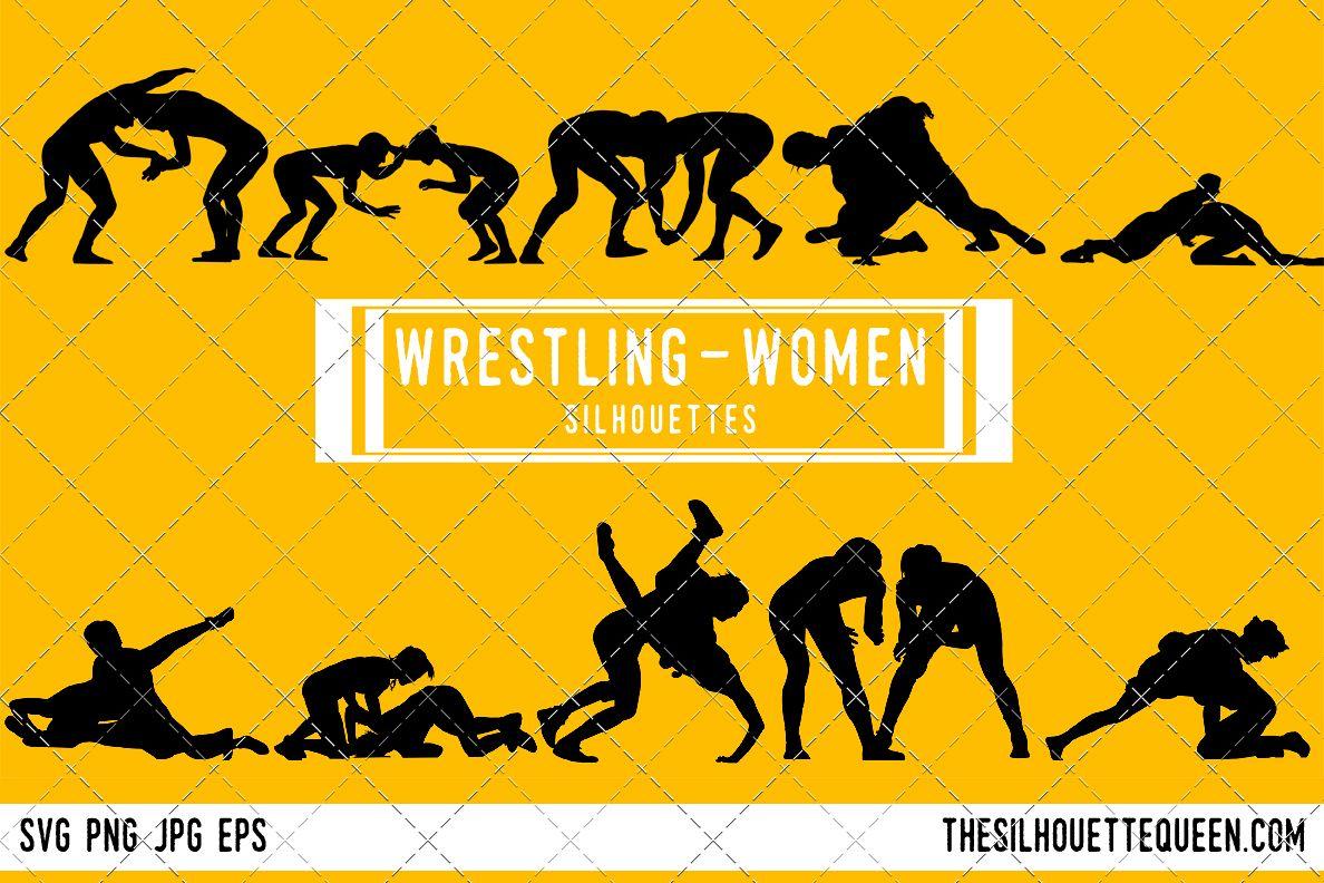 Wrestling silhouette female . Wrestlers clipart woman wrestler