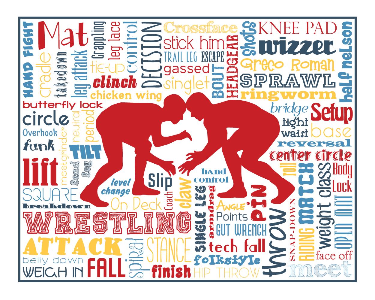 Wrestlers clipart wrestling word. Art typography home decor
