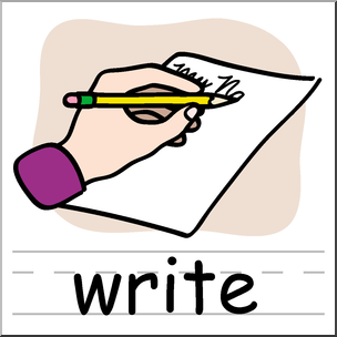 Writer clipart clip art. Basic words write color