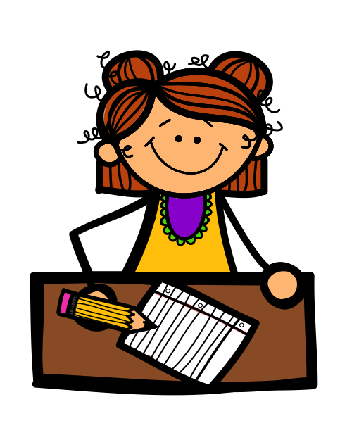 Boy and girl student. Writer clipart