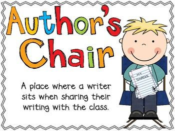 Pin on school . Writer clipart author's chair
