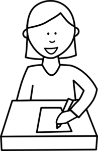 Writer clipart black and white. Student writing clip art