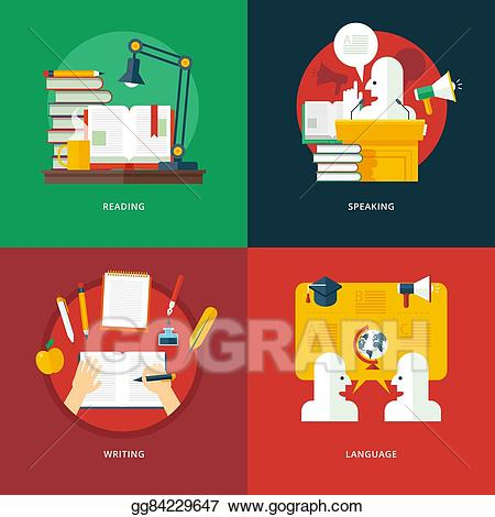 Vector illustration set of. Writer clipart eloquent