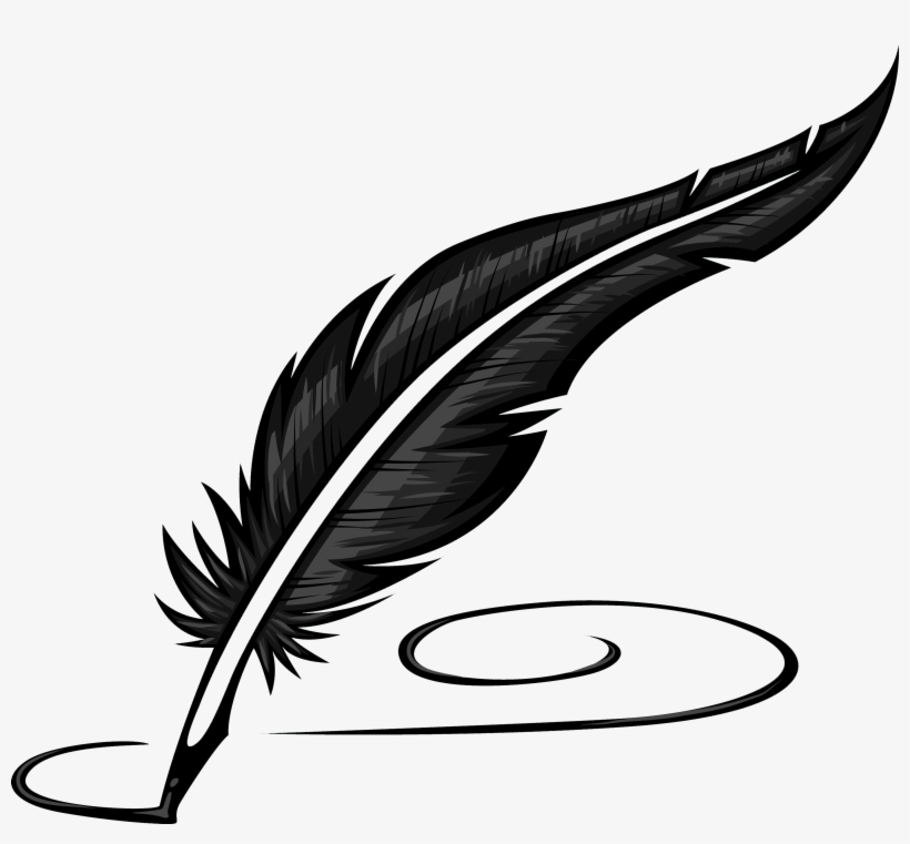 Writing feather quill pen. Writer clipart literature