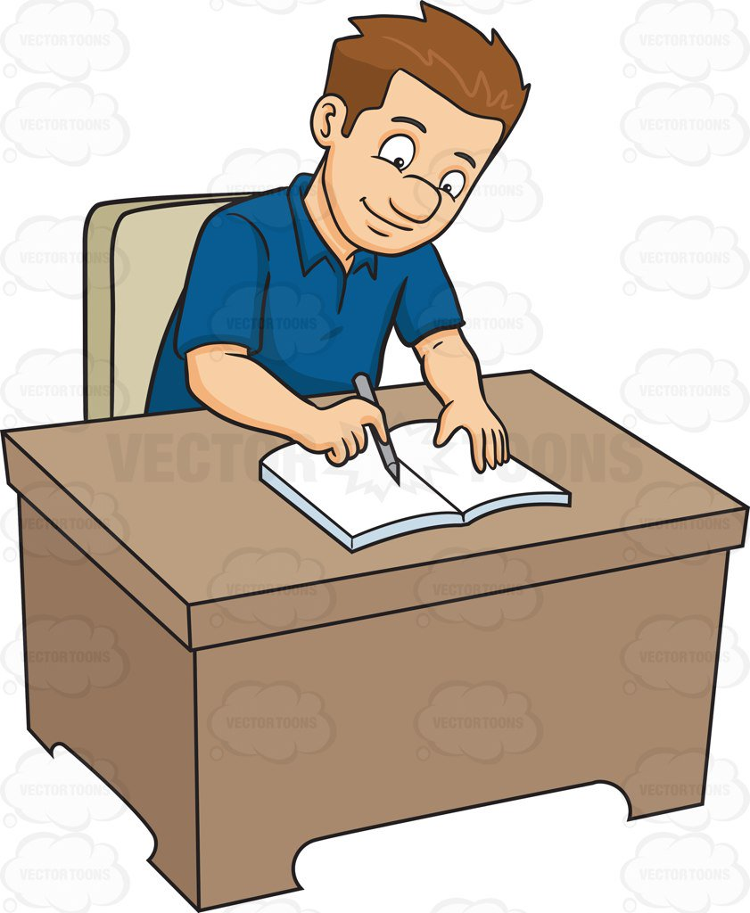 Writer clipart man. Cartoon person writing free