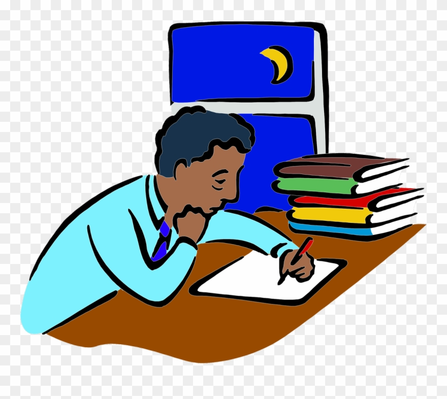 Weary man writing at. Writer clipart study