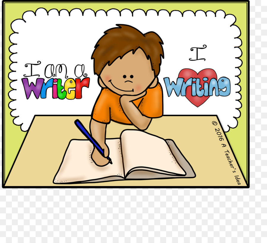Creative background writing child. Writer clipart teacher