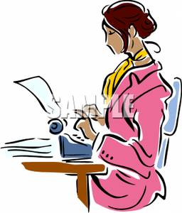 A secretary at type. Writer clipart typing