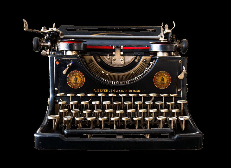 Vintage colour machine transparent. Writer clipart typing