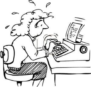 Picture a nervous woman. Writer clipart typing