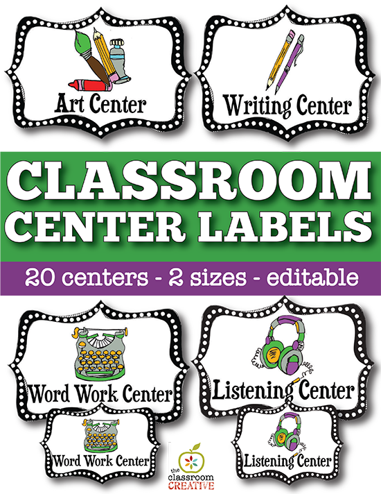 Writer clipart word work center. Classroom labels stop