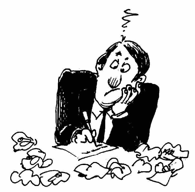 Writer clipart writer's block. Writing performance reviews getting