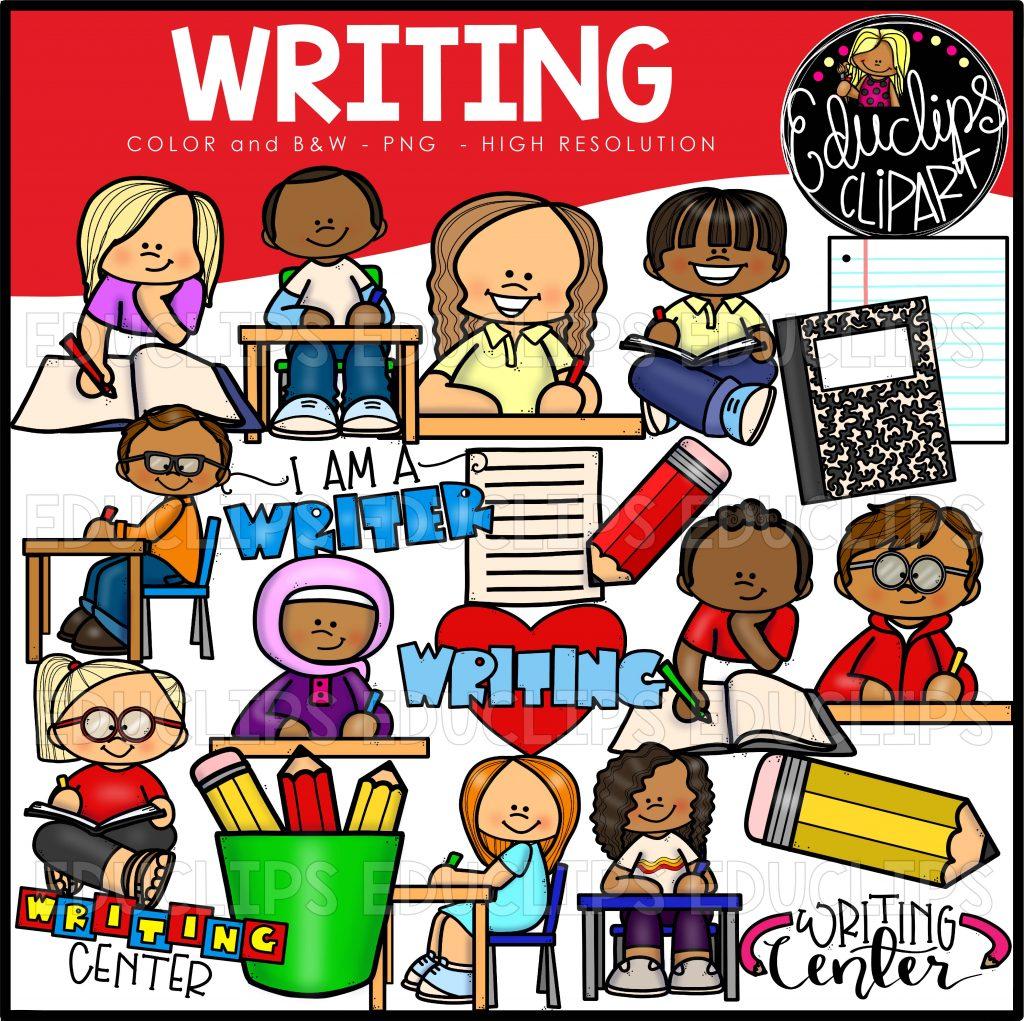 Writer clipart writing center. Clip art bundle color