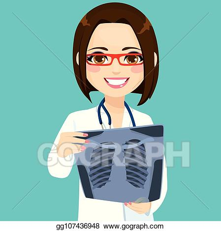Vector doctor checking . Xray clipart female