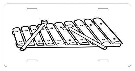 Xylophone clipart black and white. Amazon com lunarable license