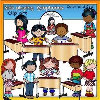 Kids playing xylophones clip. Xylophone clipart child's