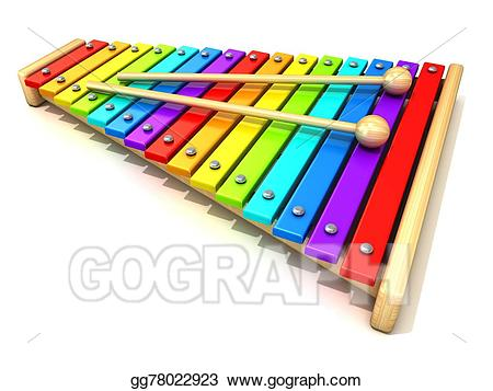 Xylophone clipart colorful. Stock illustration with rainbow