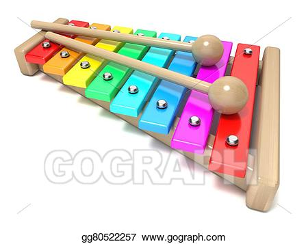 Stock illustration with rainbow. Xylophone clipart colorful