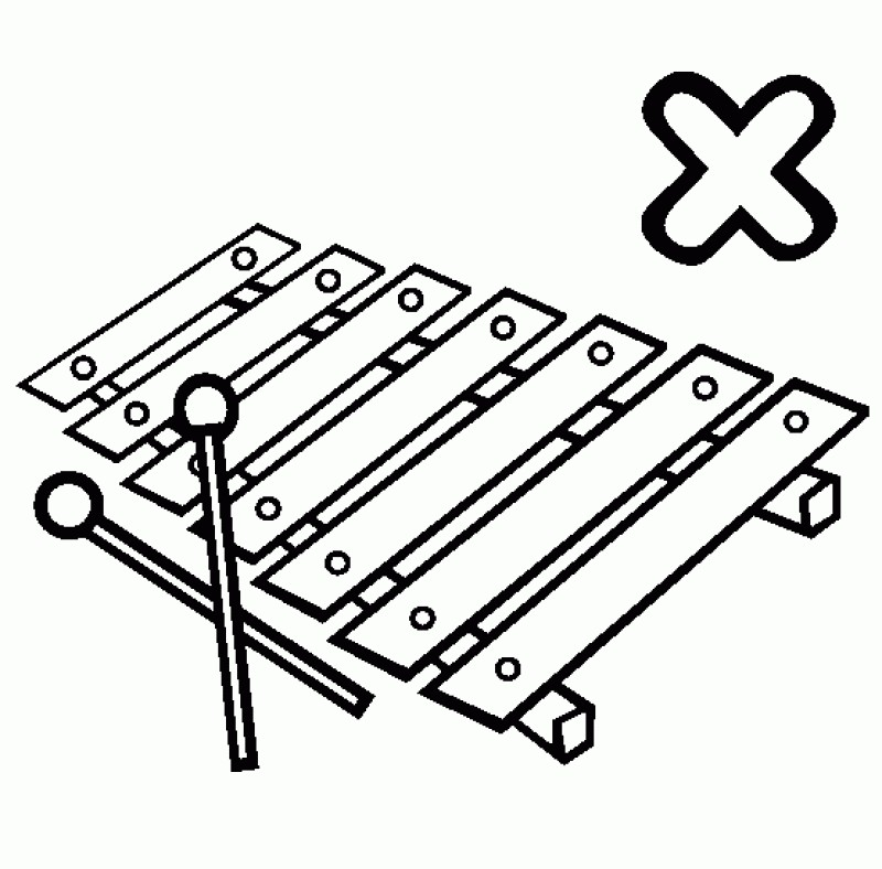 Letter x is for. Xylophone clipart colouring