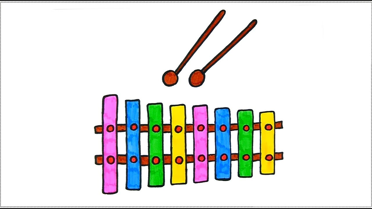 How to olours for. Xylophone clipart draw