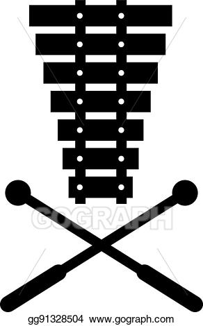 Vector with crossed mallets. Xylophone clipart mallet