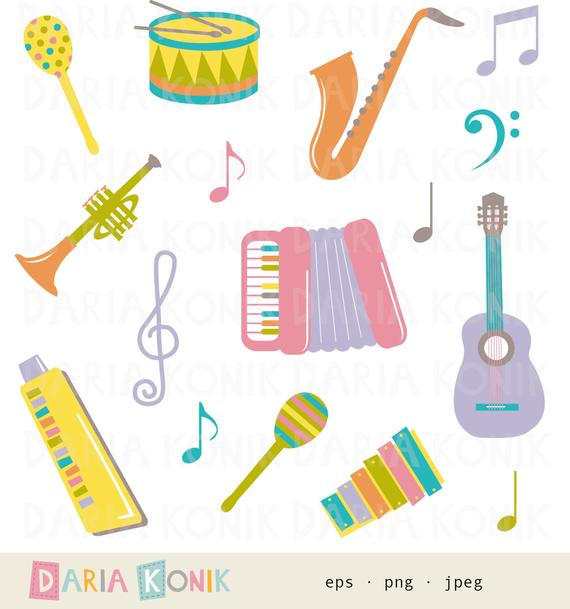 Xylophone clipart musical instrument. Instruments clip art set
