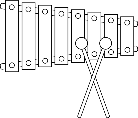 Free black and white. Xylophone clipart outline