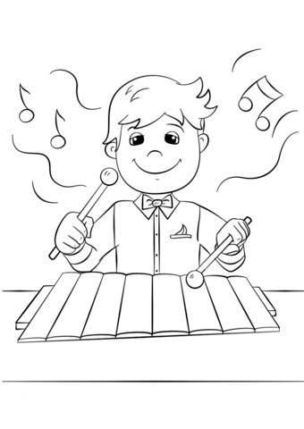 Boy playing coloring page. Xylophone clipart printable
