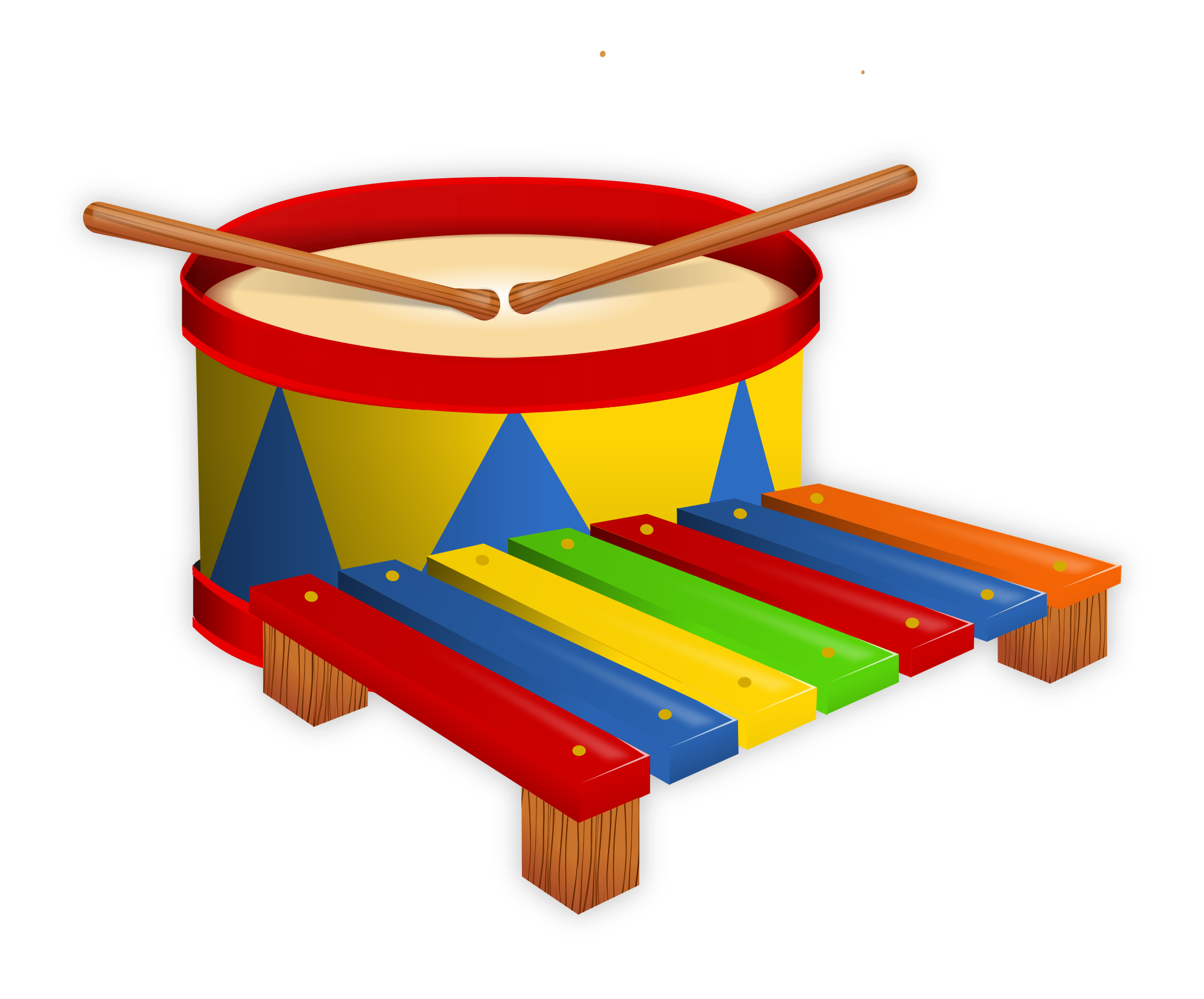 File drum and toy. Xylophone clipart red