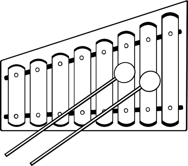 Xylophone clipart sketch. Black and white