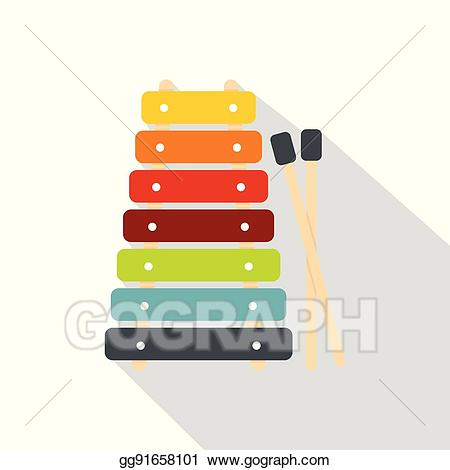Clip art vector colorful. Xylophone clipart stick