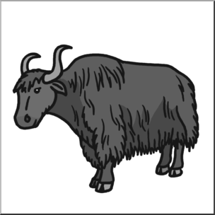 Clip art grayscale i. Yak clipart