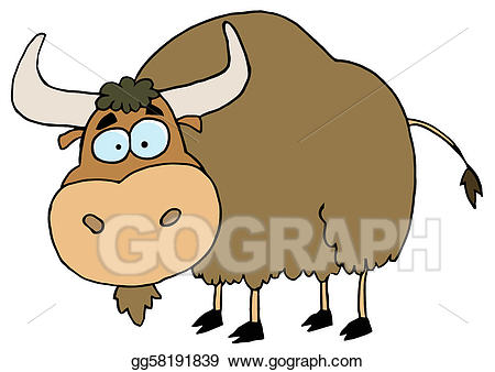 Vector art brown drawing. Buffalo clipart yak