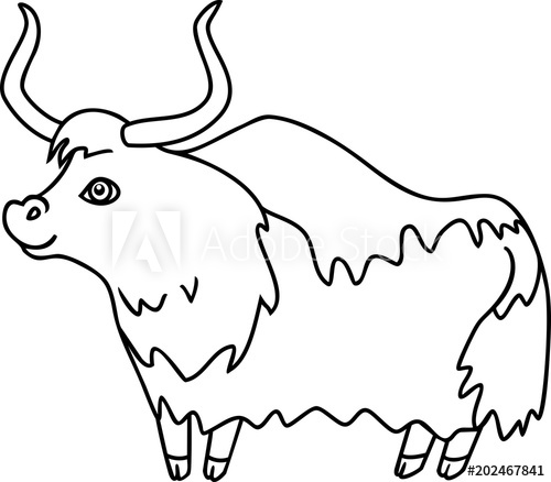 X free clip art. Yak clipart colouring page