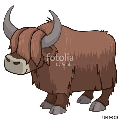 Yak clipart hairy animal. Cute vector illustration isolated