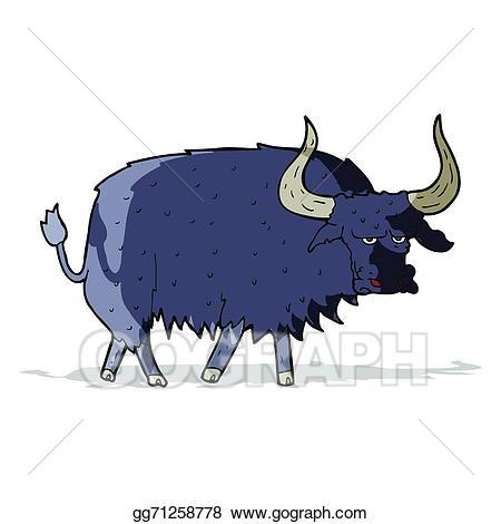 Vector art cartoon annoyed. Yak clipart hairy animal