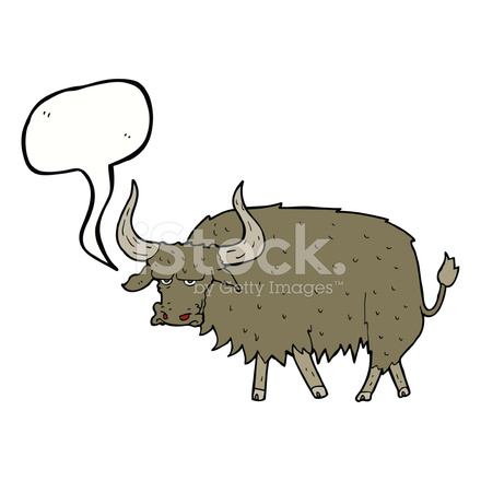 Cartoon annoyed cow with. Yak clipart hairy animal