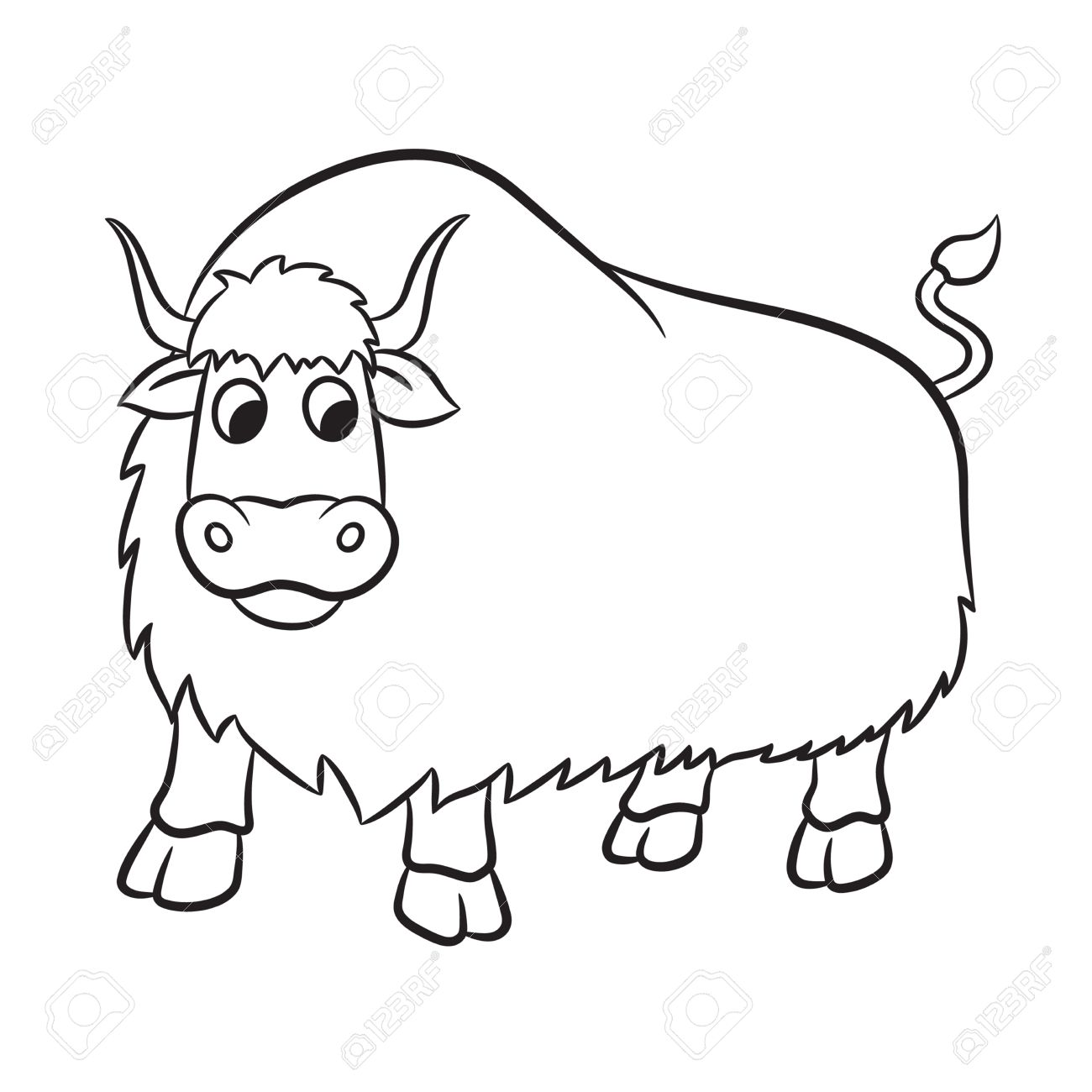 Yak clipart outline. Black and white free