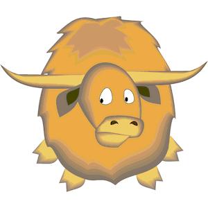 Yak clipart yellow. Cartoon illustration snout ox