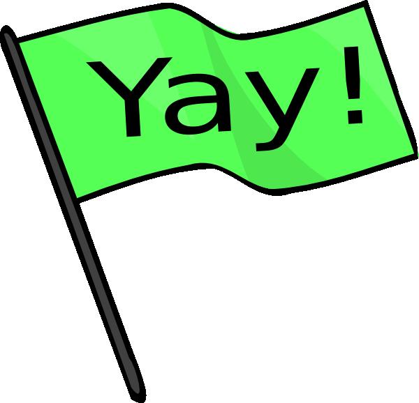 Yay clipart. Green flag clip art