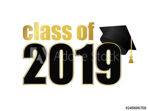 Yearbook clipart promotion ceremony. Class of black number